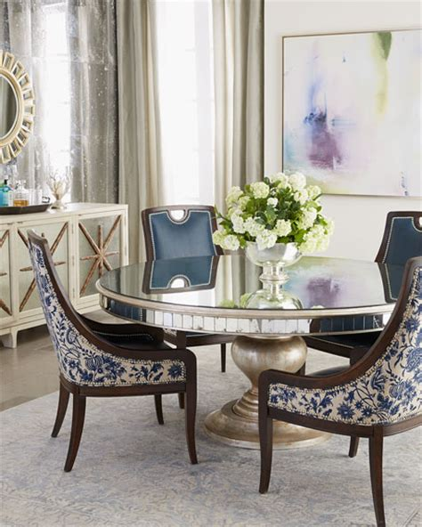 round mirrored dining room table john richard collection kingsley dining chair lisandra