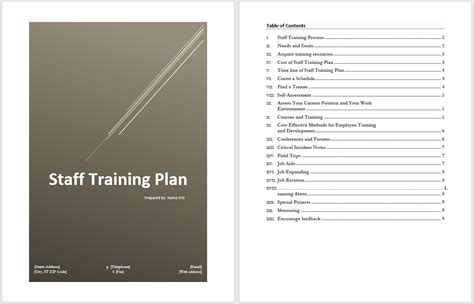 staff training plan template word templates