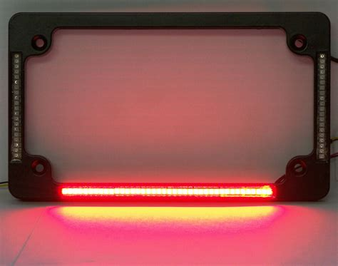 Quad Led Flat Motorcycle License Plate Frame
