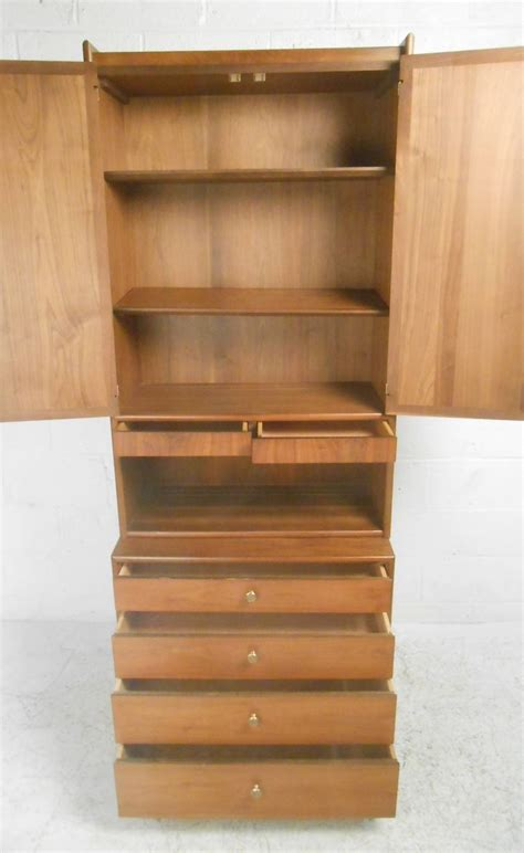 Midcentury Modern Cane Front Storage Cabinet With Hutch