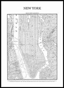 Plan De Manhattan : affiches et posters noir et blanc avec carte de manhattan ~ Melissatoandfro.com Idées de Décoration