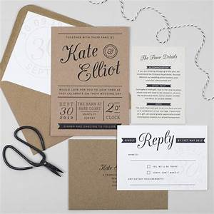 kraft stamp wedding invitation by pear paper co With wedding invitation etiquette stamps