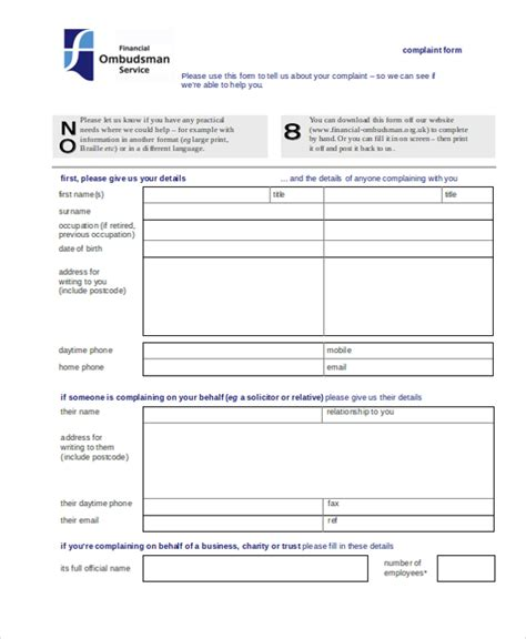 19218 financial ombudsman complaint form sle complaint form 22 free documents in word pdf