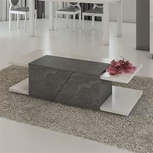 Table Basse Blanc Gris : table basse design gris beton table basse rangement table basse gris ~ Nature-et-papiers.com Idées de Décoration
