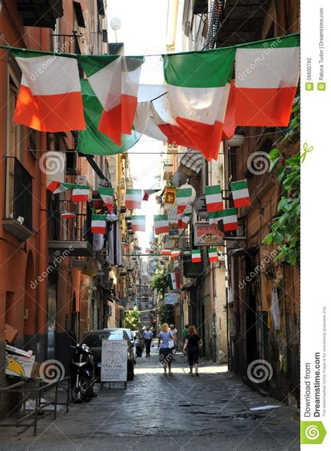 typical streets  naples   summer day italy