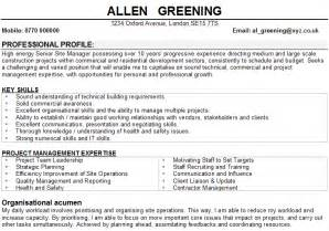 resume templates professional profile statement construction manager cv sles