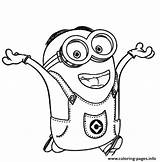 Happy Coloring Minion Pages Dave Printable sketch template