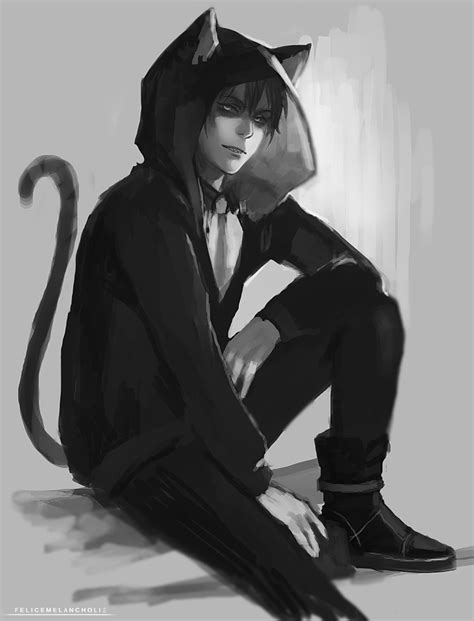 anime boy with cat cat boy sketch by felicemelancholie on deviantart