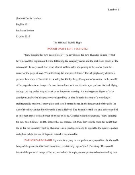 essay  ad analysis rough draft  hyundai hubrid hype