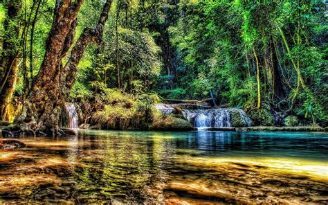 marvelous river falls   forest hdr hd wallpaper