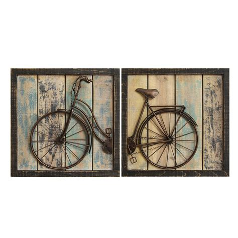 wall decor stratton home decor set of 2 rustic bicycle wall decor