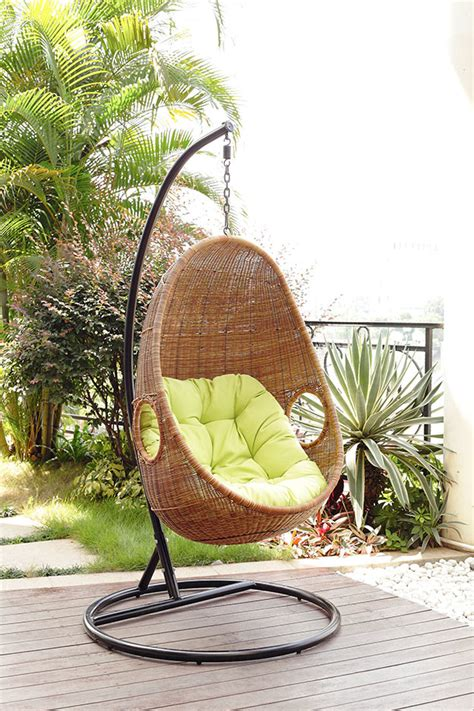 cozy rattan egg shaped patio swing chair outdoor furniture