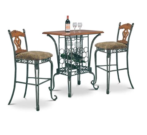 pub table and two chairs 3 piece bar table set with wine rack base bar table and