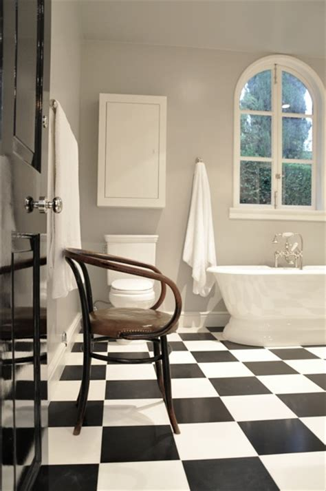 black  white checkered floor traditional bathroom