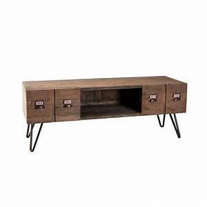 Meuble Tv Industrielle : meubles tv meubles et rangements meuble tv au style industriel octave en pin 2 tiroirs inside75 ~ Nature-et-papiers.com Idées de Décoration