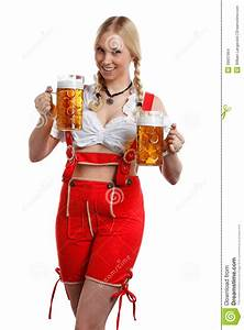 Woman In Tiroler Oktoberfest Style With A Glass Of Beer ...