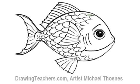Drawn Fish Cartoon Coloring