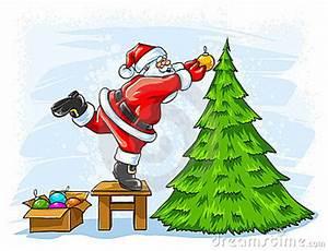 Cheerful Santa Claus Decorating Christmas Tree Royalty