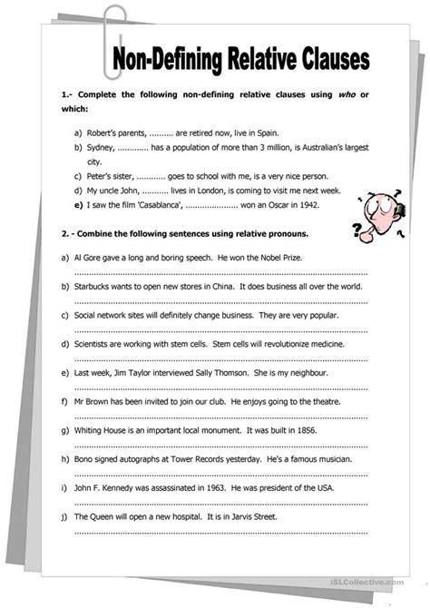 defining relative clauses worksheet  esl