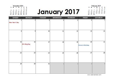 2017 Calendar Template Excel 2017 Excel Calendar Planner Free Printable Templates