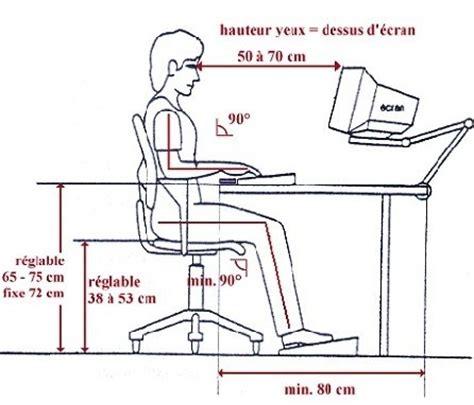 hauteur standard bureau la bonne posture à l ordinateur et pour le travail de