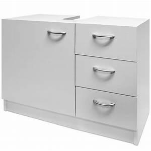 Meuble rangement sous lavabo avec 3 tiroirs blanc for Meuble rangement salle de bain sous lavabo