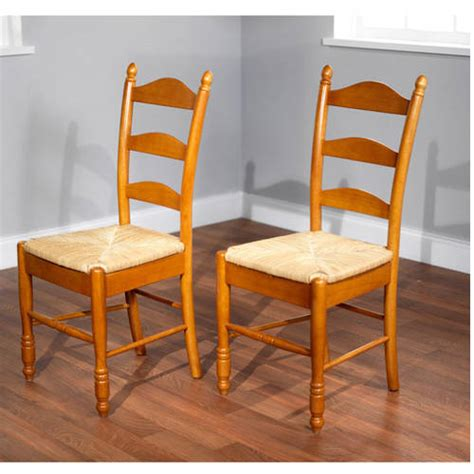 ladder back rush seat chairs set of 2 multiple colors