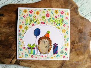 anjas card  birthday hedgehog die  images
