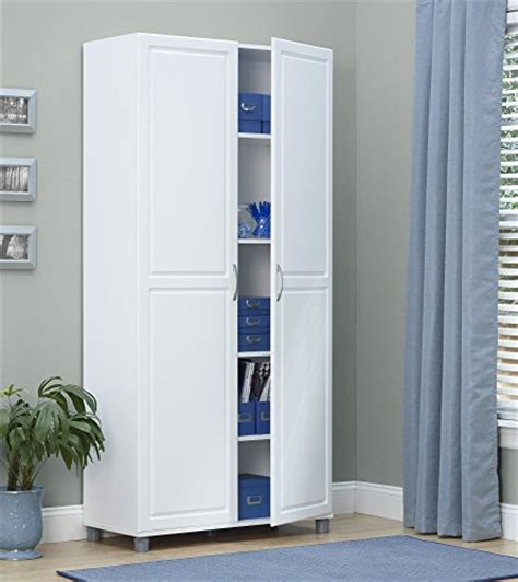 Tall Storage Cabinet White Double Door Utility Kitchen