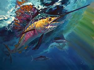 saltwater fish art - Saltwater Game Fish Art Striped bass ...