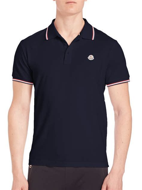 sleeve striped trim t shirt lyst moncler striped trim polo in blue for