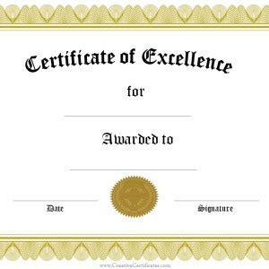 Certificate Of Excellence Template Editable by Award Of Excellence Template Sle In Black And White