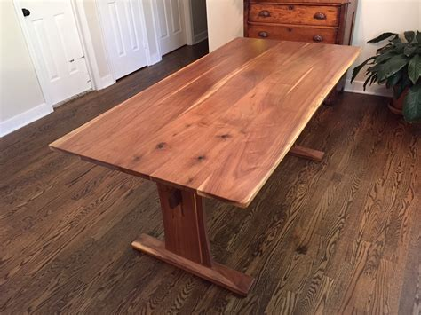 reclaimed walnut trestle table  extensions reclaimed