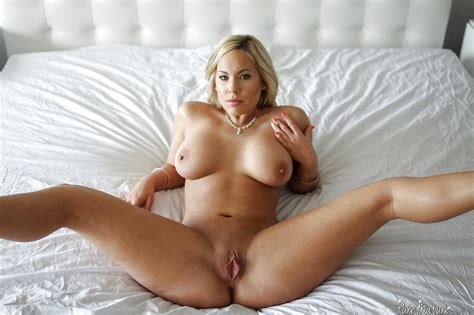 Busty Blonde Milf Parting Pink Pussy For Big Cock
