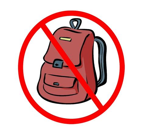 Image result for no backpack sign