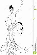 Dancer Flamenco Fan Dancers Sketch Belly Coloring Pages Sketches Royalty Outline Vector sketch template