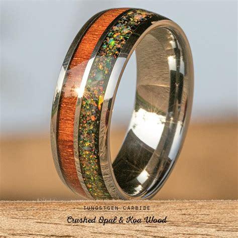 tungsten carbide ring  crushed opal hawaiian koa