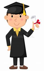 Boy in graduation gown stock vector. Illustration of ...