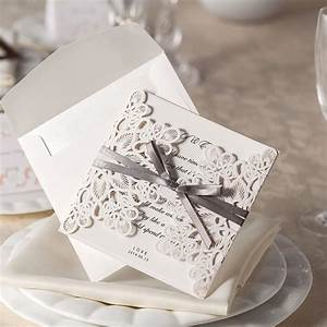 ribbon and lace wedding invitations laser cut invites With wedding invitations with ribbons and lace