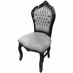 Chaise Tissu Noir : chaise de style baroque rococo tissu velours gris et bois ~ Teatrodelosmanantiales.com Idées de Décoration