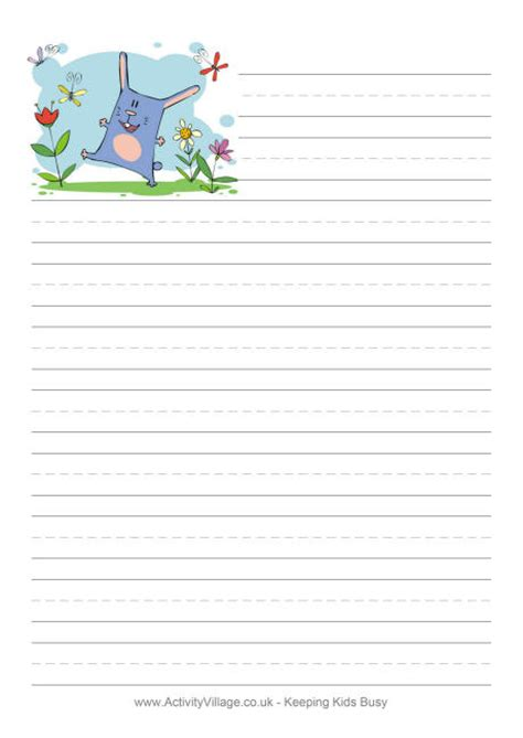 spring bunny writing paper