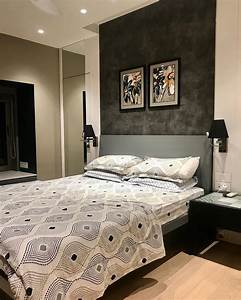 Bedroom, In, Black, And, White, Charcoal, Finish, Backdrop, With, A, Set, Of, Artworks, Sidetable, With
