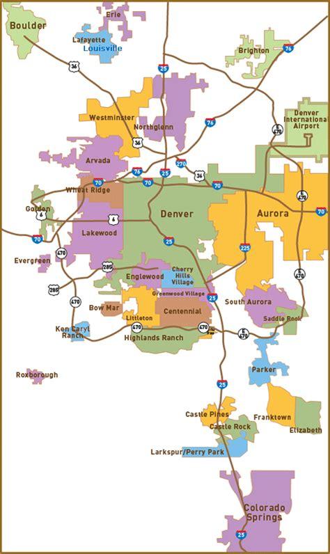 denver relocation map  denver   suburbs