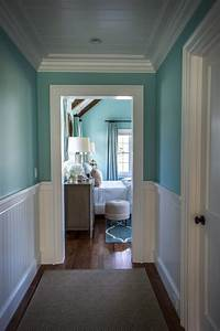 Gorgeous, Blue, Hallway, With, White, Wainscoting