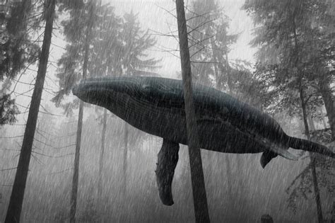 Humpback whale swimming in forest