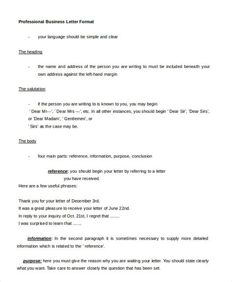 professional letter format   word  documents