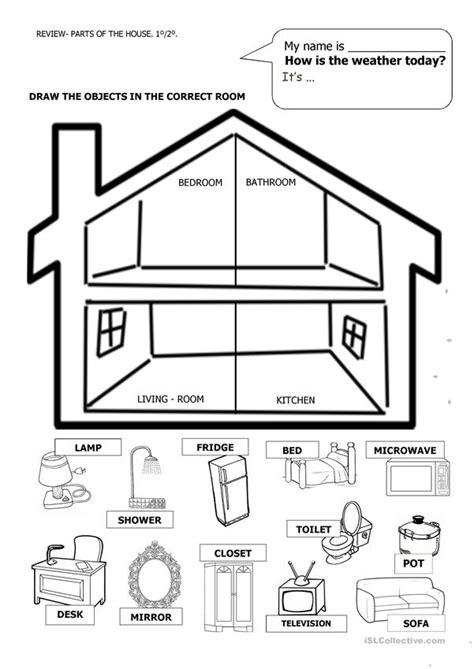 house  furniture worksheet  esl printable