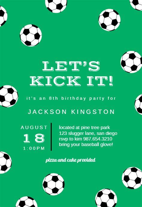 soccer birthday sports games invitation template