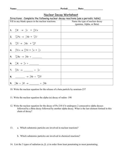 Alpha And Beta Decay Worksheet Geersc