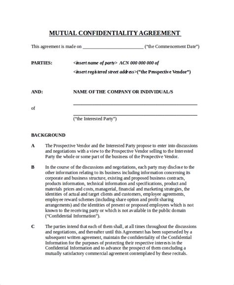 sample confidentiality agreement form  examples